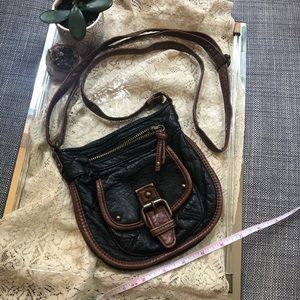 Black and brown, faux leather, cross body.